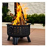Round Wood Burning Fire Pit with Fire Shield, Patio Small Firepits for Outside Charcoal BBQ Grill Camping Barbecue with Poker Grate