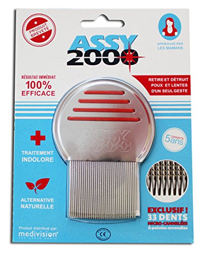 ASSY 2000-Peine de acero con cerdas de metal para piojos y liendres