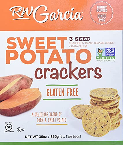RW Garcia Sweet Potato 3 Seeds Crackers Net Wt 30 Oz (2 X 15oz Bags), 30 Oz