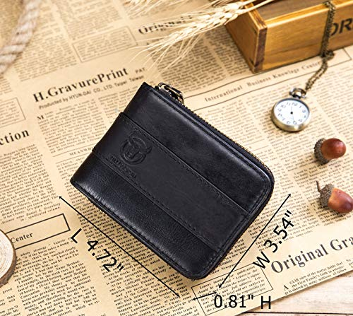 BULLCAPTAIN Genuine Leather Men Zipper Wallet Bifold RFID Blocking Wallet Large Capacity Multi Card Holder Coin Purse 2