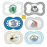 MAM Day & Night LATEX - Chupete original y chupete de aire (16 meses, 6 unidades, incluye 3 cajas de transporte para esterilizar)