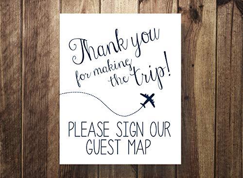 Navy gelieve onze gast kaart bedankt voor het maken van reis bestemming bruiloft reizen gast boek gastenboek hout pallet ontwerp muur kunst teken plaque houten borden