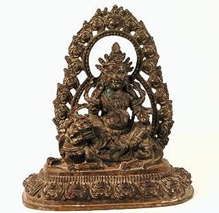 Tibetan Red Copper Statue Jambhala Vaisravana on Snow Lion Throne