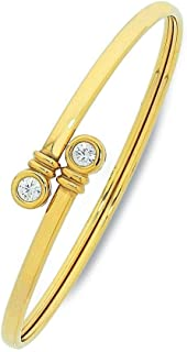 Bevilles 9ct Yellow Gold Silver Infused Bangle with Bezel Set Cubic Zirconia Ends