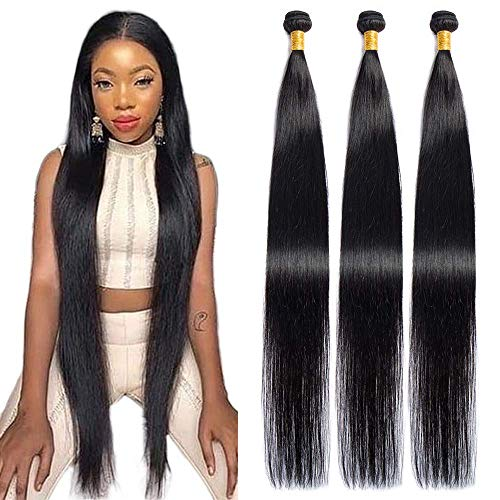 Maxine Hair 10a Grade Brazilian Virgin Straight Hair 3Bundles 36 36 36 Inches Long Straight Human Hair Extensions 1b Black Color Can be Dyed And Styled Hair Weaving for Women