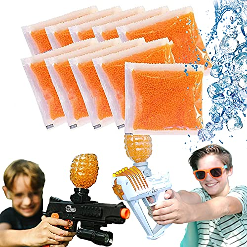 Water Bullets Beads, for Water Gun Toys/Nerf CS Game, Gel Ball Grow, Magic Vase Filler Beads, Spa Refill, DIY Stress Ball, Decoration(10Packs)