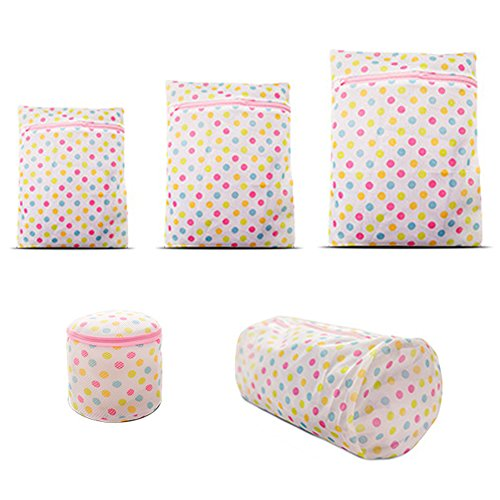 MinniLove 洗濯ネット ランドリーネット セット 5種類入り 衣類保護袋 大容量 厚手耐摩耐久 衣類 下着など 各種洗濯機適用 衣類保護 (波点5種入り)