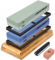 Jeacent Knife Sharpening Stone Set, 4 Side 400/1000 2000/5000 Grit Whetstone, Kitchen Blade Sharpener Stone with...