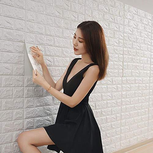 Ksmsem 50枚 3D 壁紙 レンガ 防音シート 防水 壁紙 断熱 DIYクッション シール シート立体 壁用 壁紙 はがせる タイルシール ウォールステッカー 北欧 白 壁用 タイル 77cm*70cm (白, 50)