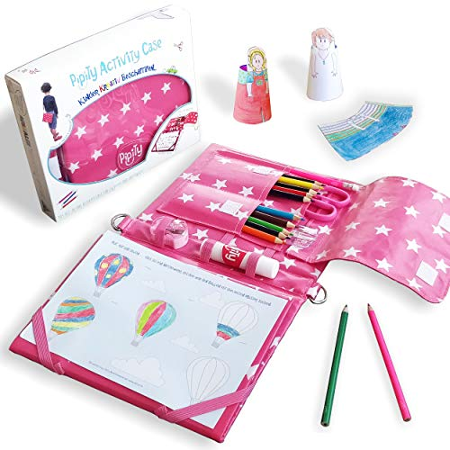 Pipity Activity Etui, Geschenk Mädchen 6 Jahre - 10 Jahre. Kreativset Mädchen mit Bastelsachen, Reisespiele, Malbuch & Bastelset Mädchen stundenlang kreativ beschäftigen. Mädchen Geschenke, PINK