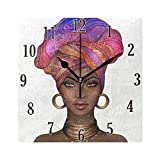 senya Stylish Modern Wall Clock, African American Woman Clock Innovative Silent Non-Ticking Decorative Clock for Living Room, Bedroom, Home, Office