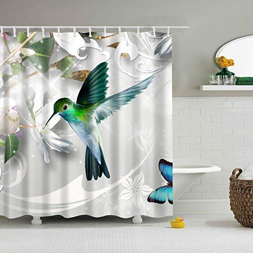 /N Cielo Blanco Flores Blancas de ensueño tucán Verde Azul Hermosa Mariposa Hojas Verdes Cortina de Ducha Cortina de baño decoración Tela Impermeable