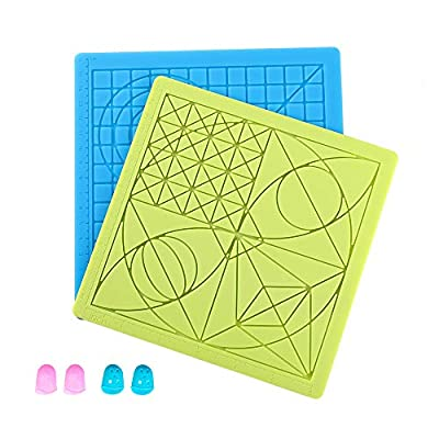 Sovol 3D Pen Mat, 2 Pack 3D Printing Pen Pad Silicone Mat Large Basic Template with 4 Finger Protectors, Compatible with All 3D Pen, Great Tools for 3D Beginners/Kids