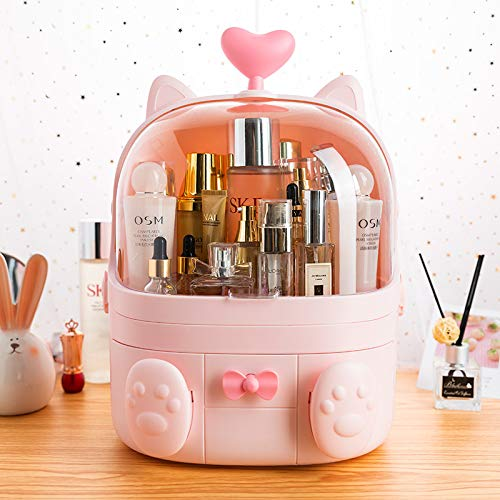 Sooyee Cat Shape Makeup Organizer, Modern Jewelry and Cosmetic Storage Display Boxes with Heart Shaped Handle, Waterproof Dustproof Design Great for Bathroom, Dresser, Vanity and Countertop (Pink)