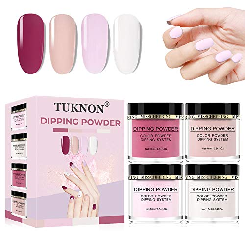 Dip Pulver Nagel Starter Kit, Dipping Powder Nail Kit, Dip Powders Nail Art Set, Dip Nails System Powder, Acryl Puder Nail Farbe Dip System Acryl Nagel Pulver Dipping Nail Powder, 4 Farben