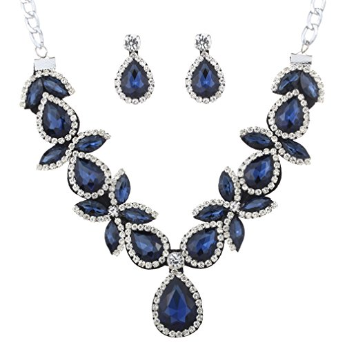 YAZILIND Women Jewelry Set Blue Stunning Drop Shaped Chunky Necklace Earring for Party