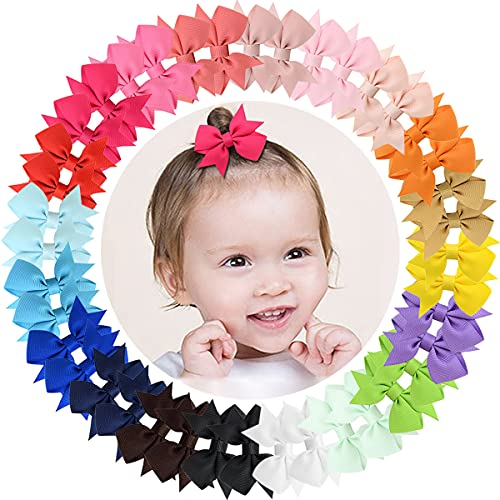 ALinmo Baby Girls Clips 2' Grosgrain Boutique Solid Color Ribbon Mini Hair Bows Clips Fully Lined Baby Hair Clips for Baby Girls Newborns Infants Toddlers in Pairs