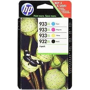 HP C2P42AE 932-933 XL, Cartucce Originali Monocromatico per Stampanti a Getto d'Inchiostro, Nero/ Ciano/ Magenta/ Giallo, Confezione da 4 pezzi
