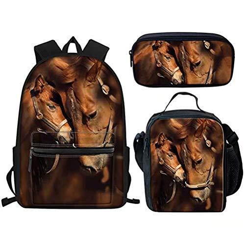 AFPANQZ Novelty Horses School Bookbag Tablet Backpack + Insulated Lunch Bag Shoulder Tote Cooler + Zipper Pencil Case | Schoolbag 3pcs/Set for Girls Boys Elementary School Brown Animal Print