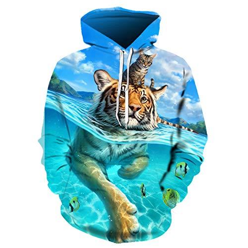 Lozse Unisex Hoodies Lente en herfst mannen 3D gedrukte tijger patroon hoodie kitten trui mode paar sweatshirt