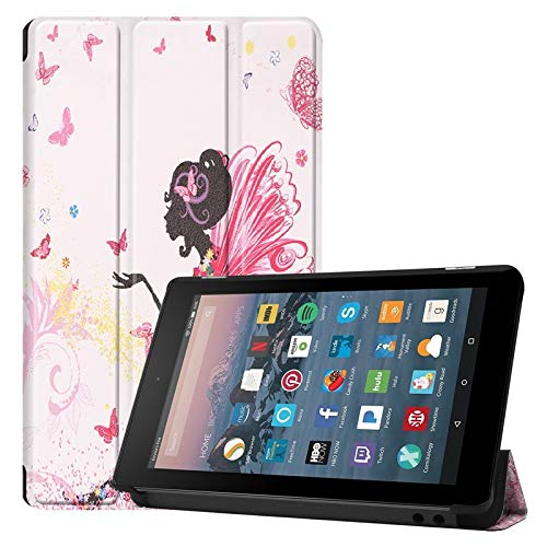 Weichunya For Amazon Fire 7 Inch (7th/8th Gen, 2017/2019 Release) Owl Butterfly Flower Dandelion Eiffel Tower Design Smart Tablet Case Trifold Stand With Auto Sleep/Wake Function (PATTERN : 8)
