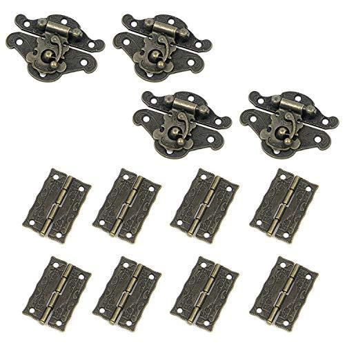 Geesatis - Hebilla decorativa para cerrojo y bisagras de bronce antiguo para armario, caja de madera para armario y armario de muñecas con tornillos de montaje, 4 hebillas + 8 bisagras