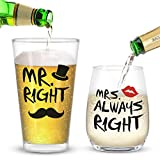 Mr. Right and Mrs. Always Right Stemless Wine Glass and Beer Glass Funny Present for Her Him...