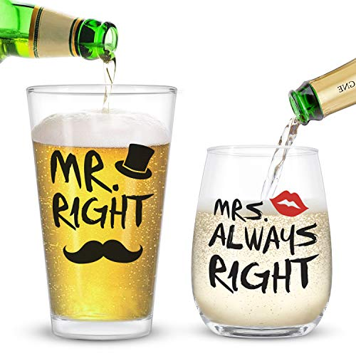 Mr. Right and Mrs. Always Right Stemless Wine Glass and Beer Glass Funny...