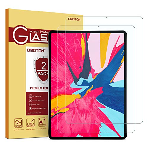 [2 Pack] OMOTON Tempered Glass Screen Protector Compatible with All New All Screen iPad Pro 11-inch 2018 Release