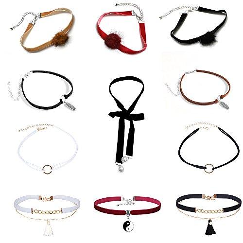 Mingjun 11piezas Bola de terciopelo gótico Fashion Gargantilla Collar Conjunto Doble Capa Punk ajustable borla chokers para las mujeres y las niñas