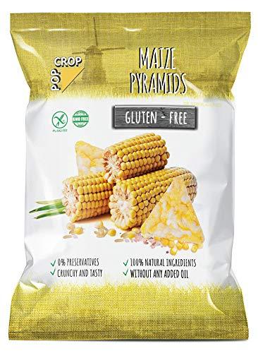 POPCROP Pyramids Maize, 10 x 80 g | Knusper-Snack aus Mais, Reis und Salz | High Carb, Low Fat, glutenfrei, vegan| Langsam gebacken ohne Öl | Ohne künstliche Zusatzstoffe | Allergen-Frei