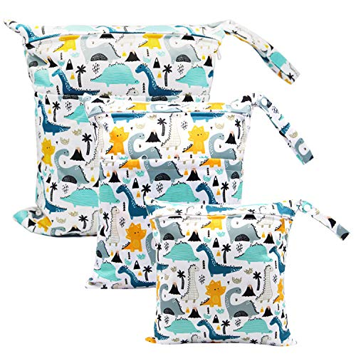 ViVidLife Bolsa Pañales Bebe, 3 PCS Reutilizable Wetbag, Impermeable Lavable con 2 Cremallera para Mamá de Bebé, Transpirable Organizador de Maquillaje de Colgar, Viajes, Playa, Piscina, Gym