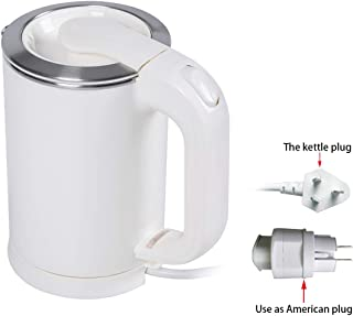 0.5Liter Portable Electric Kettle,110V/220V dual voltage little travel kettle small ,100% Stainless Steel Tea Water Heater Boiler, Applicable to Global Voltage, Aaustralian plug with US adapters(White)