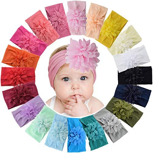 WillingTee 20 Colors 4 Inch Chiffon Flower Baby Girls Headbands Soft Elastic Nylon Hairbands Hair Bow Hair Accessories for Newborn Infant Toddler Girls Kids