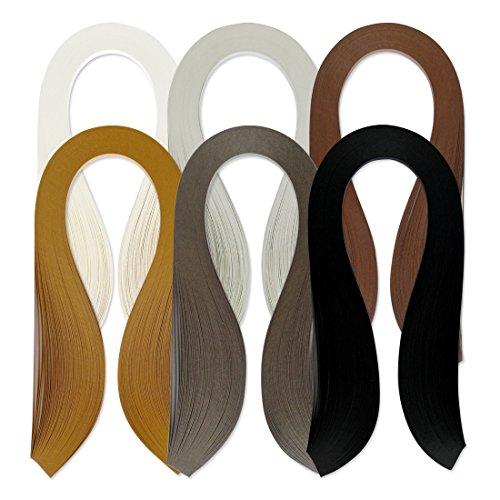 JUYA Single Color Quilling Strips Set 600 Strips 6 Colors 39cm Length/Strip Paper Width 7mm