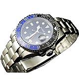 Tickwatch Bliger 40mm GMT Stile Blu e Nero Zaffiro Cristallo Ceramica Lunetta Nero Quadrante Automatico Orologio