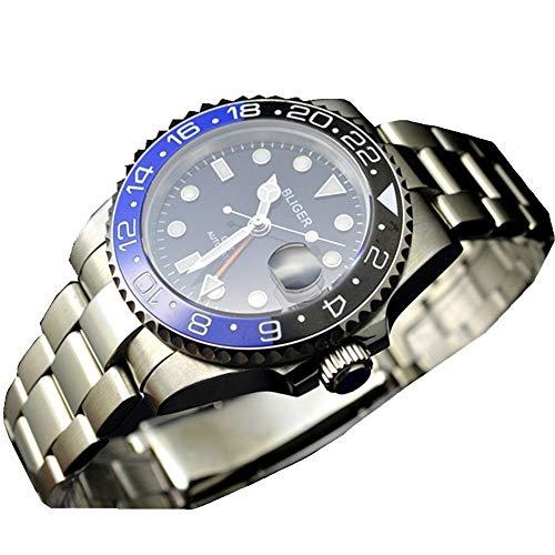 Tickwatch Bliger 40 mm GMT Style blau und schwarz Saphir Kristall Keramik Lünette schwarzes Zifferblatt Automatikuhr