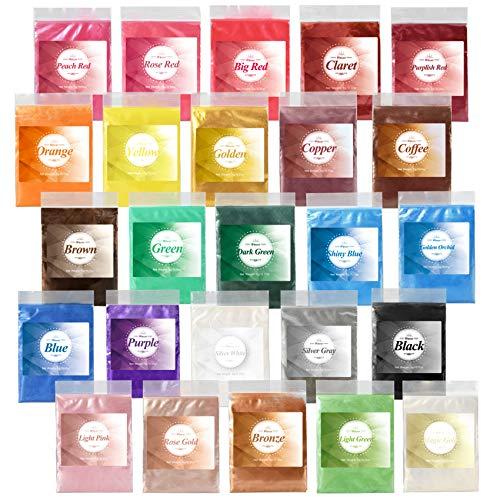 Colorant Résine Époxy - 25 Couleurs*5g Poudre Mica Naturel Métallique - pour Colorant de Savon, Pigment Résine Époxy, Peinture, Fabrication Bijoux, Maquillage, Colorant Gloss