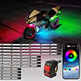 12Pcs RGBIC Motorcycle LED Light Kits, MIHAZ Dream Color Chasing Accent Lighting Strips Motorcycle Underglow Lights Smart APP Control Multi Colors, 200+ Modes, Soundsync, Waterproof