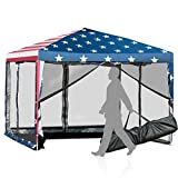 Tangkula 10x10 ft Pop-Up Canopy Tent, Outdoor Canopy with Removable Mesh Netting Walls, Waterproof Screen House Room Tent with Carry Bag for Camping, Backyard, Wedding, American Flag Printing