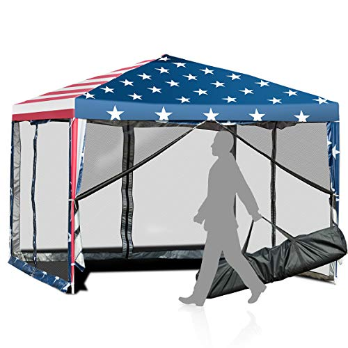 Tangkula 10x10 ft Pop-Up Canopy Tent w/ Netting, Outdoor Canopy Tent with Carry Bag, Waterproof Screen House Room Tent with Carry Bag for Camping, Backyard, Wedding, American Flag Printing