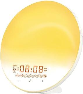 Vakna upp ljus, med FM -radio väckarklockor Simulering nattlampa, Snooze -funktion och atmosfärslampa Solnedgångslampa, Na...