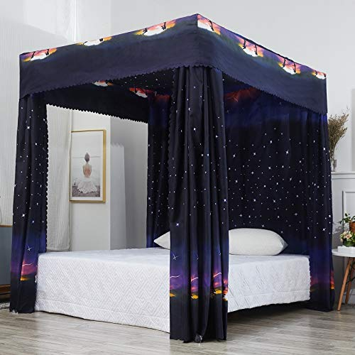 Mengersi Galaxy Star Four Corner Post Bed Curtain Canopy Bedroom Decoration for Girls Adults Windproof Lightproof Bed Canopies Child Gift (Queen,Black)