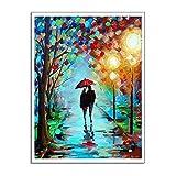 Leinwand Bild,Bunte Park Trail Im Regen Paar, Poster Und