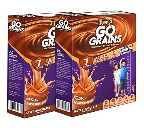 Manna Go Grains | 800g | Pack of 2 | Chocolate | Health and Nutrition drink for Kids | Multigrain Malted Drink for Growth & Immunity. High Protein | 7 Immunity builders | 24 Vitamins and Minerals for Growth