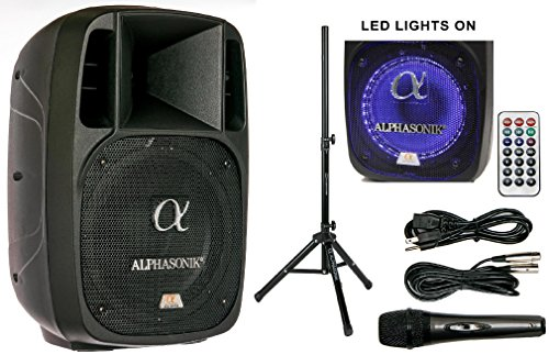 Alphasonik 10 Powered 1600W PRO DJ Amplified Loud Speaker Bluetooth USB SD Card AUX MP3 FM Radio PA System LED Ring Karaoke Feature Mic (Main Monitor, Band, Church, Party, Guitar Amp) w/Tripod Stand