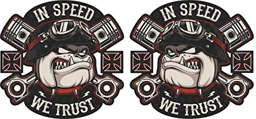 MG313 / 2x Aufkleber Bulldog je 6,3x6,5cm Speed we Trust Racing Old School Sticker Chopper Bobber Scrambler V2 Biker