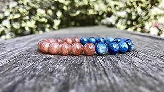 kyanite and Brazilian Gold Sunstone Bracelet 8mm kyanite and Sunstone Bracelet Energy Bracelet Confidence Bracelet Blue an...
