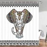 Elefanten-Duschvorhang, Boho-Stil, kreativer Tier-Elefanten-Badvorhang, schwarz-weiß, Boho-Duschvorhang, Mandala-Blumen-Duschvorhang, wasserfester Stoff, Duschvorhanghaken, 175,3 x 170 cm (B x H)