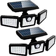 Outdoor Solar Lights 2 Pack, Motion Sensor Light Outdoor, Solar Lights Outdoor, 3 Adjustable Heads, 270° Wide Angle, IP67 Waterproof Solar Flood Lights